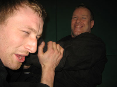 Shaun getting choked by Dave